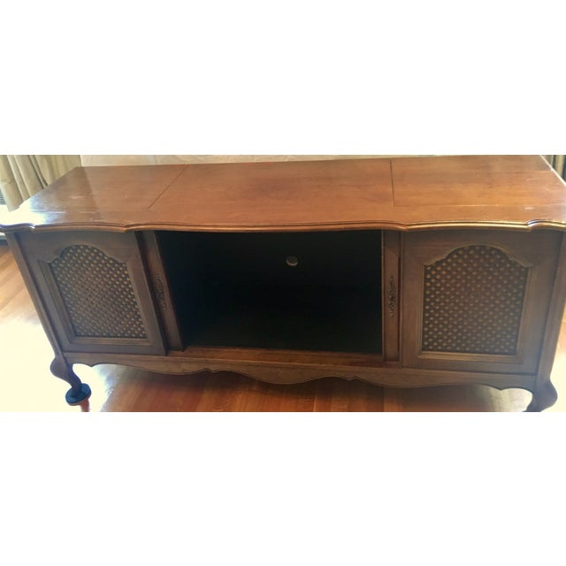 Brown Credenza With Built-In Record Player & Stereo For Sale - Image 8 of 12