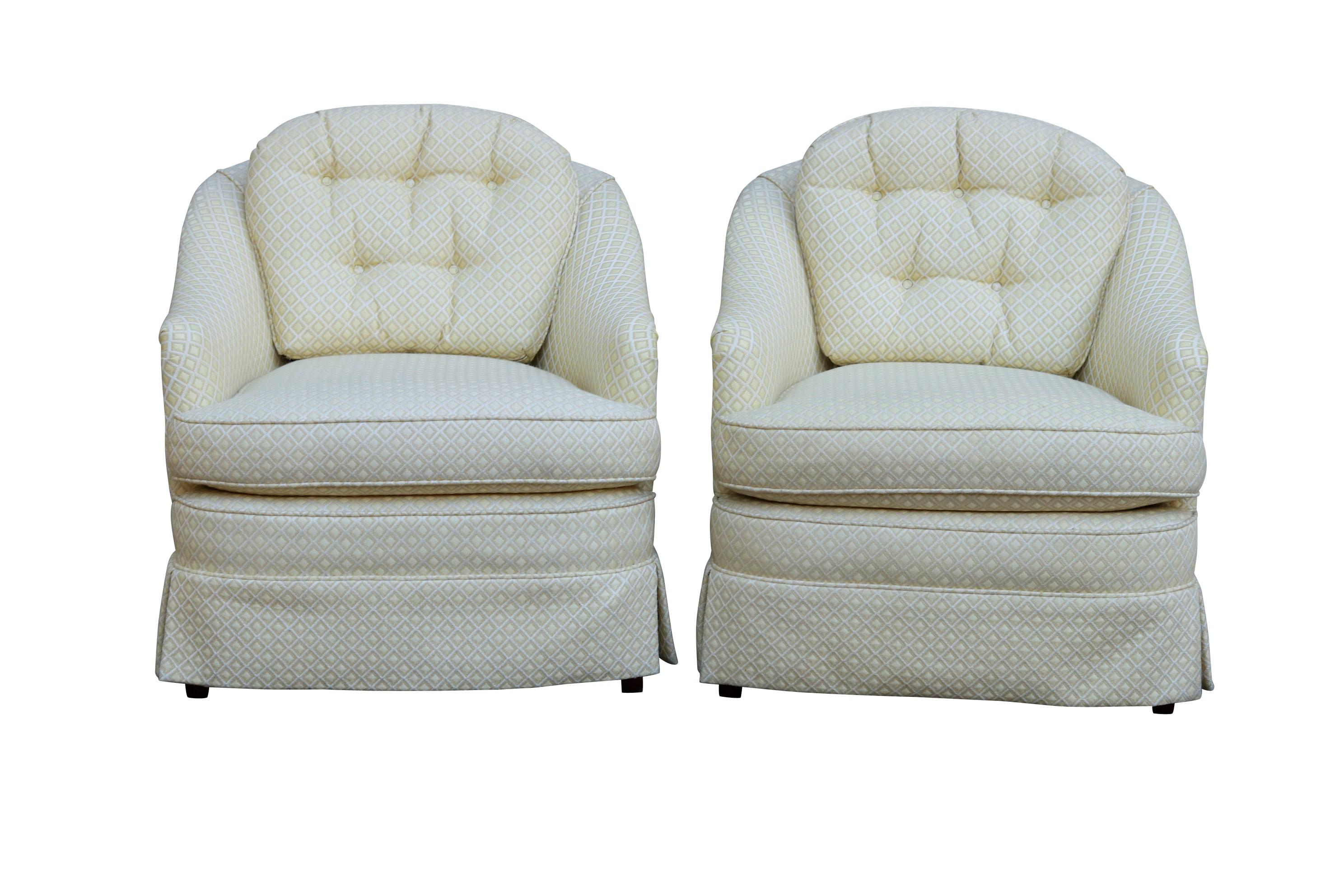 Mid Century Style Cream Club Chairs, A Pair   Image 9 Of 9
