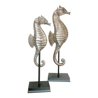 Silver Color Nautical Seahorses on Stand - a Pair For Sale