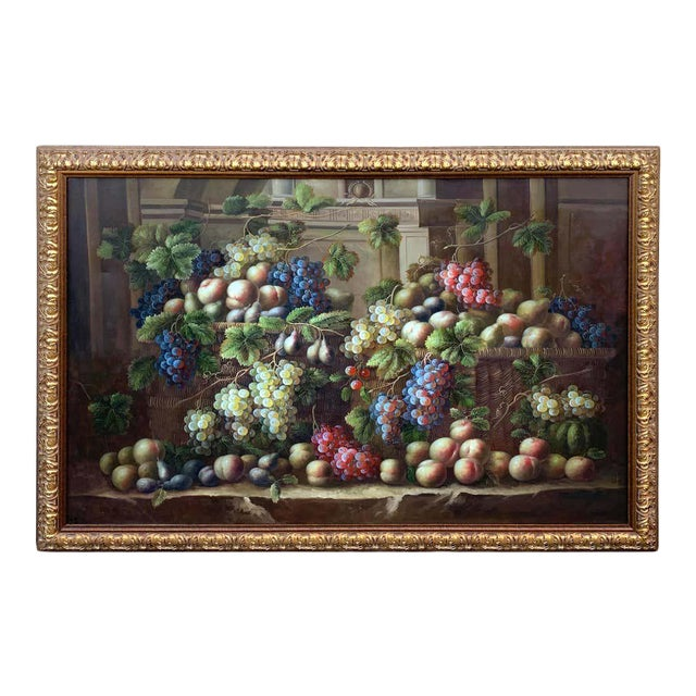 European Still Life of Grapes on a Ledge, Unsigned For Sale