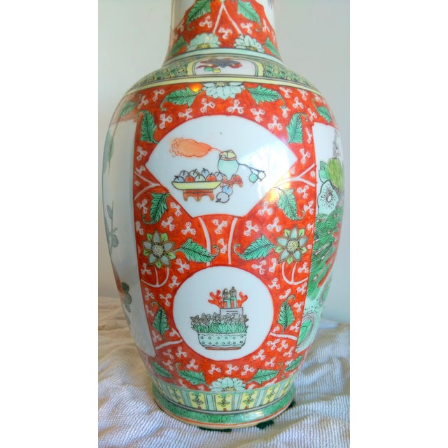 Vintage Hand Painted Asian Peacock Motif Vase - Image 5 of 8