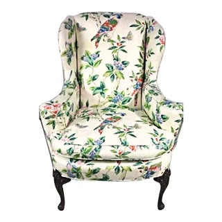 Parrot Motif Upholstered Wingback Armchair For Sale