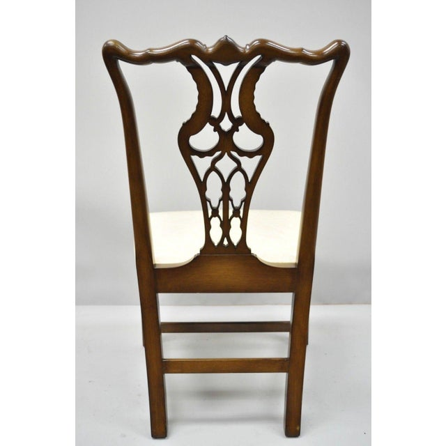 Antique Mahogany Pagoda Carved Chinese Chippendale Style Dining Chairs - Set of 4 For Sale - Image 10 of 12