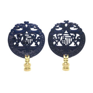 Chinoiserie Navy Blue and Brass Lamp Finials - a Pair For Sale