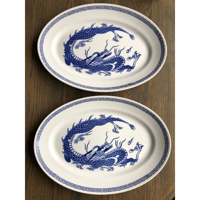 Ceramic Double Phoenix Nikko Oval Dishes - A Pair For Sale - Image 7 of 7