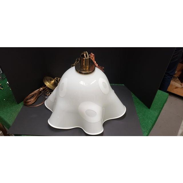 White Groovy Handkerchief Murano Pendant Light For Sale - Image 10 of 11