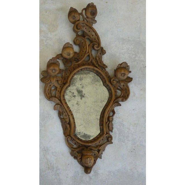 Brown Fine 19th C Italian Venetian Rococo Wood Mirrors With Fruits - a Pair For Sale - Image 8 of 10