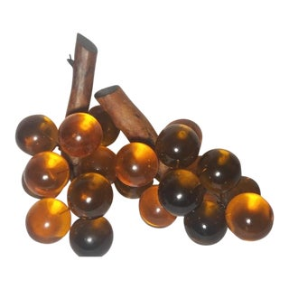 Vintage Mid-Century Amber Gold Lucite Grape Bunches - A Pair For Sale