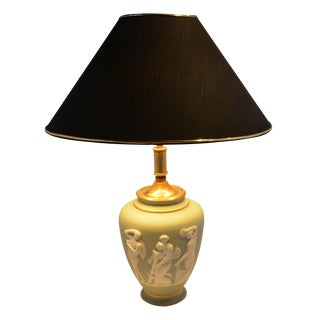Limoges Green Lamp Urn Shaped by Tharaud For Sale