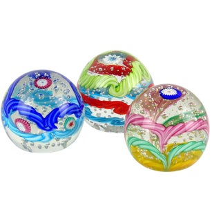 Fratelli Toso Murano Colorful Millefiori Ribbon Italian Art Glass Paperweights - Set of 3 For Sale
