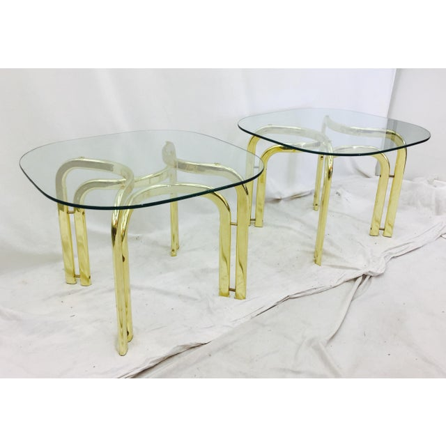 Gold Modern Brass Side Tables - A Pair For Sale - Image 8 of 11