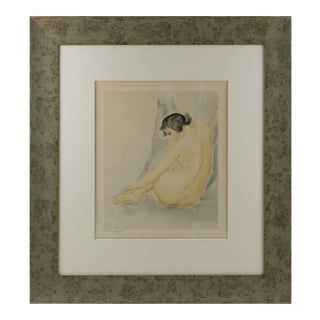 Asian Nude Study Watercolor Drawing by Rotislaw Raccoff For Sale