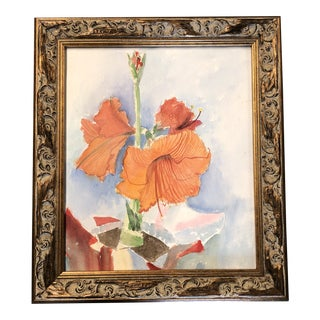 Original Vintage Floral Abstract Still Life Watercolor Painting For Sale
