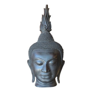 Late 19th Century Antique Monumental Bronze Thai Buddha Head For Sale