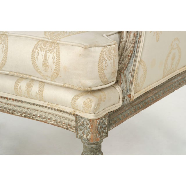 French Louis XVI Distressed Wingback Armchair - Image 6 of 11