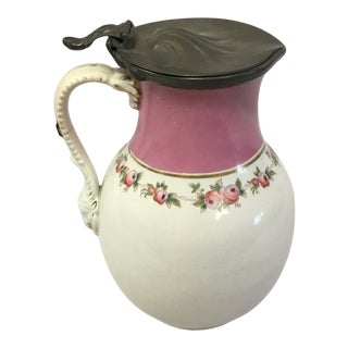Early English Syrup Pitcher With Pewter Lid For Sale