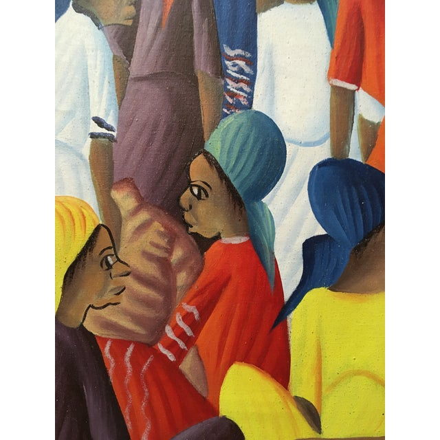 1980s Oil on Canvas Painting of a Haitian Market by Andre Guervil For Sale - Image 5 of 10