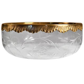 20th Century Roger Duclos Sterling Silver and Crystal Salad Bowl For Sale