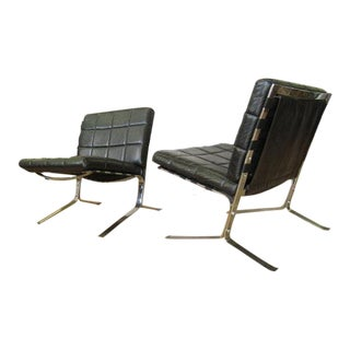 Olivier Morgue Leather Joker Chairs - A Pair For Sale