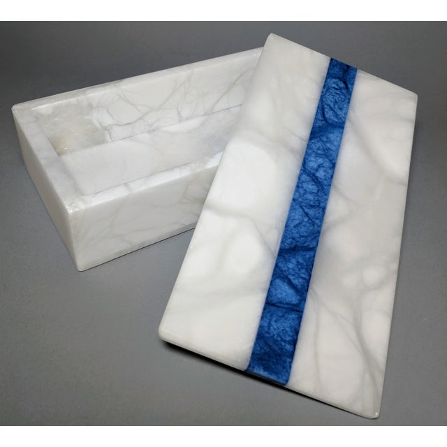 Hermes Inspired Alabaster Box With Navy Blue Stripe For Sale In Providence - Image 6 of 13