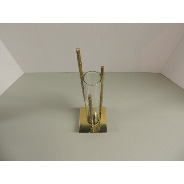 Vintage Faux Bamboo Brass Vase - Image 3 of 4