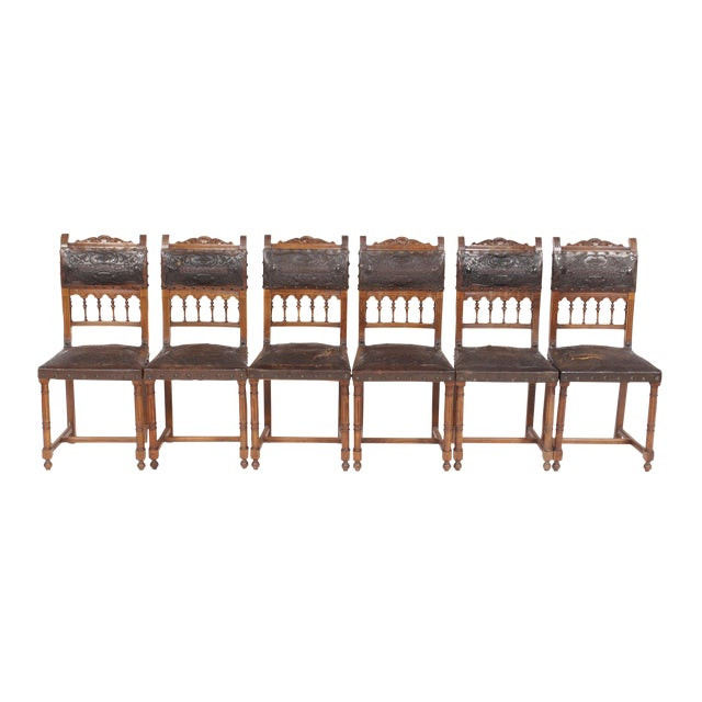 1890s French Leather Brittany Chairs - Set of 6 - Image 1 of 10