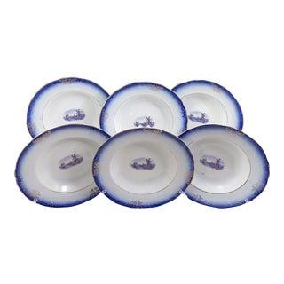 Antique Flow Blue Pasta Bowls - Set of 6