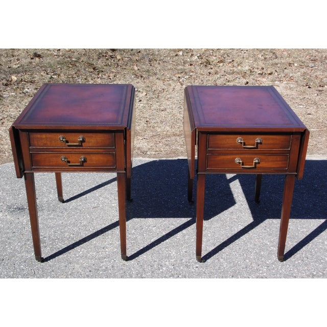 Vintage Traditional Pair Federal Mahogany Drop Leaf Pembroke End Tables Nightstands with dual leafs and beautifully...