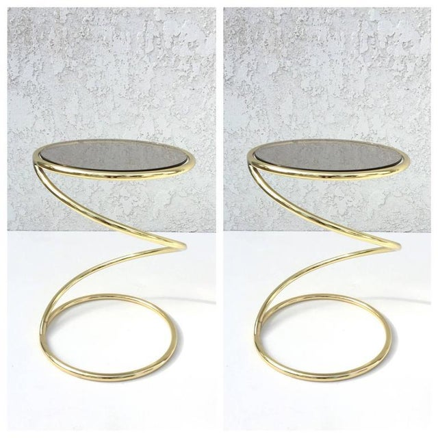 Pace Collection Brass and Bronze Glass Spiral Occasional Tables by Pace Collection - A Pair For Sale - Image 4 of 9