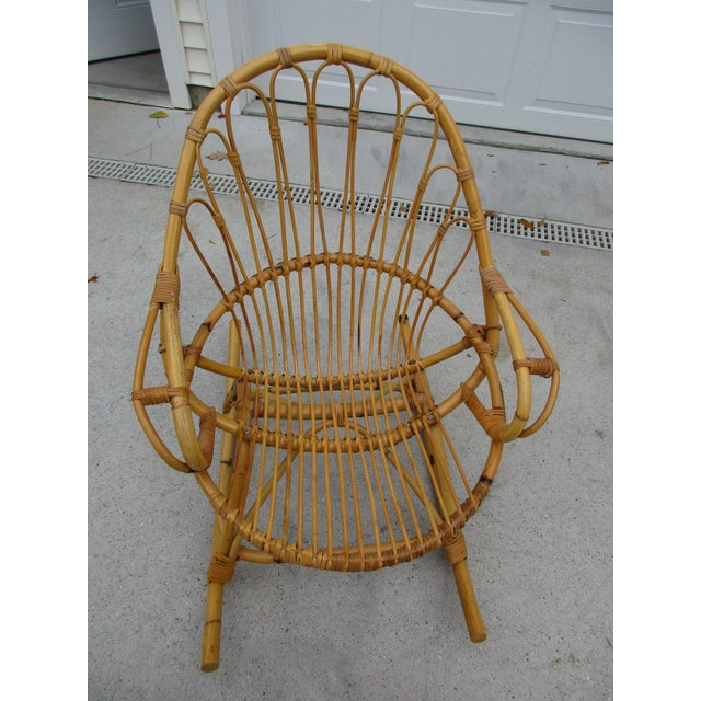 Bamboo and Wicker Rocking Chair - Image 7 of 8