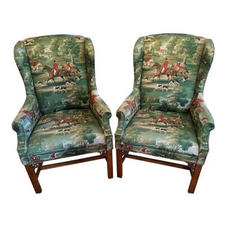 Equestrian Wing Back Chairs - Horse and Hound - Vintage For Sale