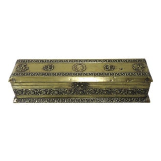 Antique Aesthetic Victorian Embossed Brass Ladies Glove Box For Sale