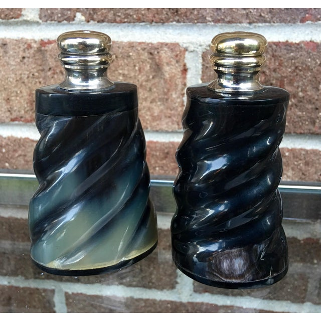 Black Horn & Silver Plate Salt & Pepper Shaker Set - Image 2 of 6