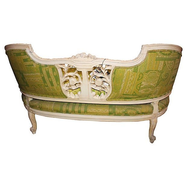 19th Century Green French Carved Loveseat - Image 3 of 8