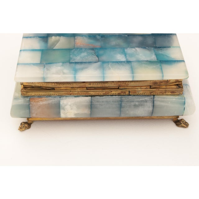Boho Chic Blue Onyx & Brass Hinged Box For Sale - Image 3 of 8