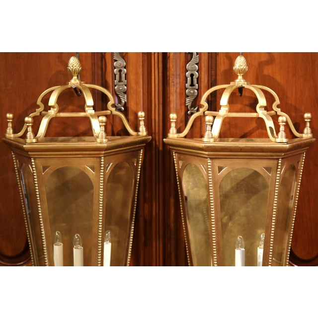 Early 20th Century French Bronze Wall Outside Sconces with Glass - A Pair For Sale - Image 5 of 10