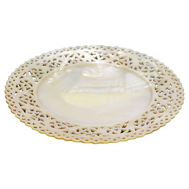 English Victorian mother-of-pearl caviar serving plate with an intricately hand-carved pierced border. Due to the delicate...