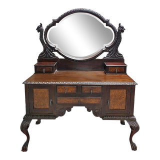 Late 19th Century Italian Brown Wooden Sideboard With Mirror For Sale