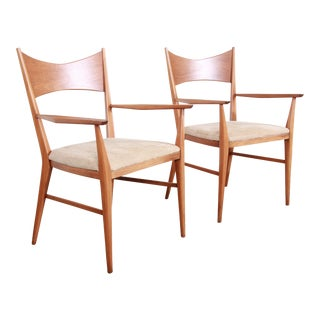 Paul McCobb for Calvin Mid-Century Modern Sculpted Walnut Bow Tie Armchairs, Pair For Sale
