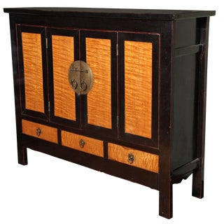 Late Qing Dynasty Black Lacquer and Burl Wood Cabinet with Accordion Doors For Sale