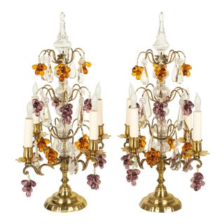 French Crystal Girandoles With Grape Clusters - a Pair For Sale