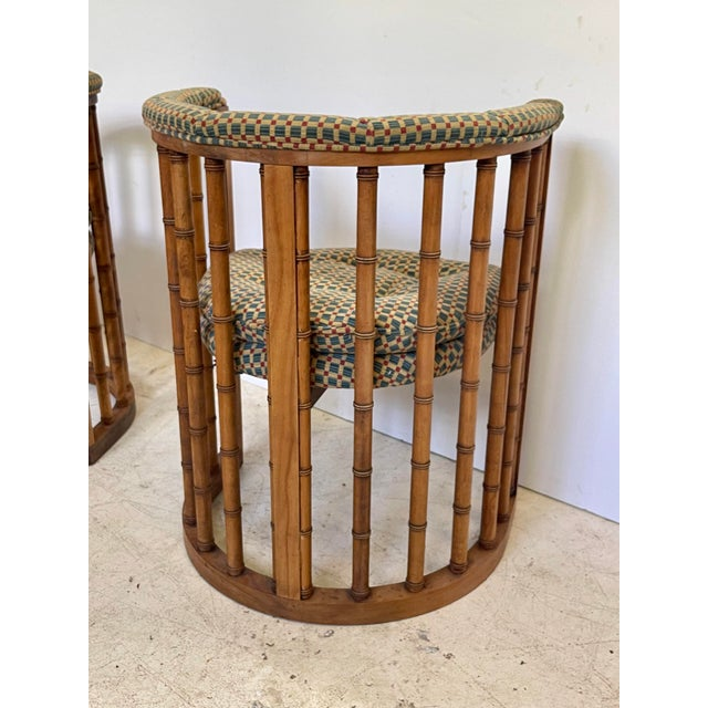 Tan Vintage Set of 4 Bamboo Barrel Back Game Chairs For Sale - Image 8 of 13