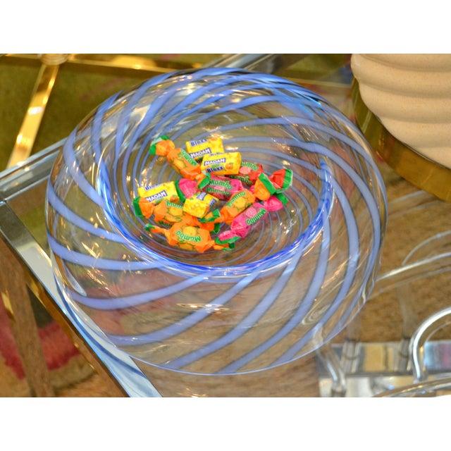 Glass Original Tommaso Barbi Italian Murano Clear & Blue Decorative Candy Dish Bowl For Sale - Image 7 of 11
