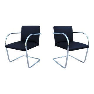 1930 Mid-Century Modern Mies Van Der Rohe Brno Tubular Chairs in Black Fabric - a Pair