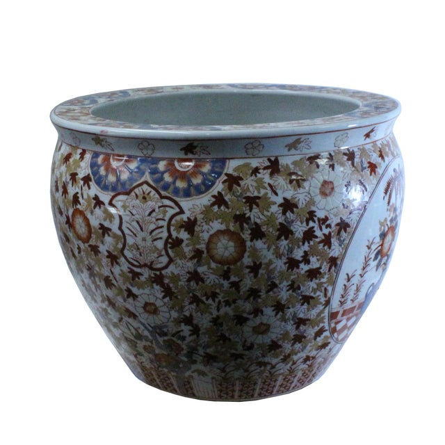 1980s Chinese Oriental Vintage Porcelain Orange Imari Graphic Pot For Sale - Image 5 of 9