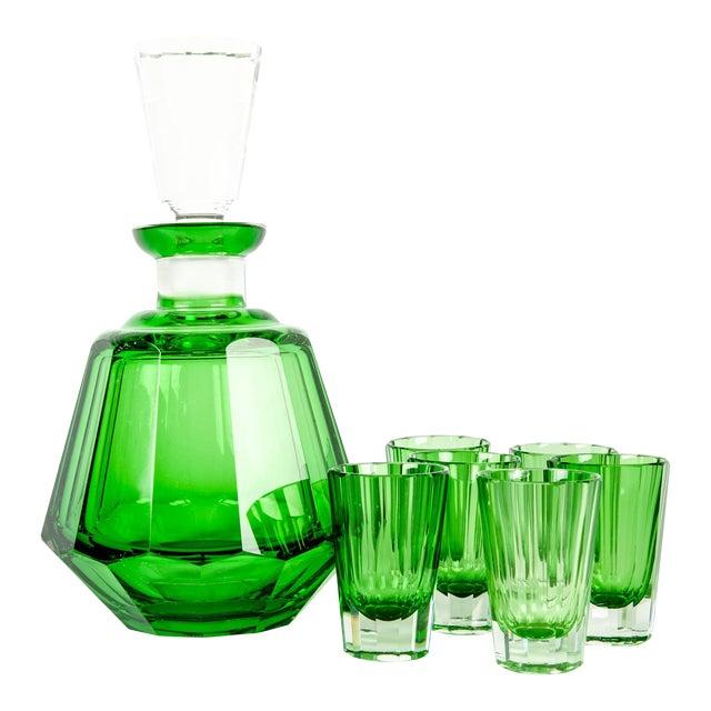 Early 20th Century Daum Cut Crystal Liqueur Set - Set of 7 For Sale
