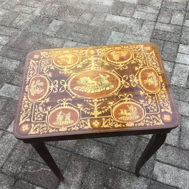 Vintage Italian Inlaid Table Swiss Movement Musical - Image 2 of 5