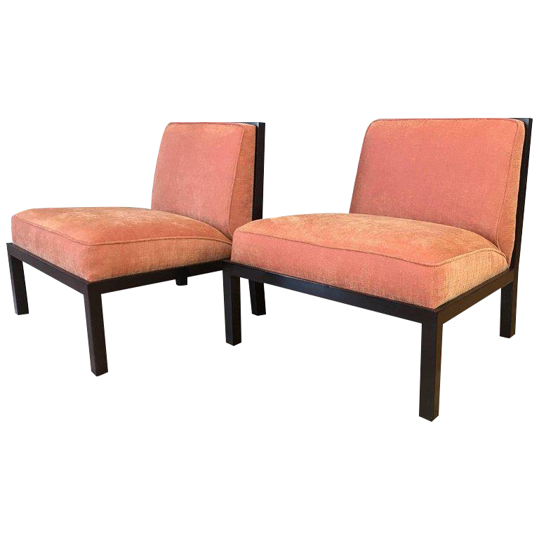 Michael Taylor For Baker Far East Collection Slipper Chairs   A Pair