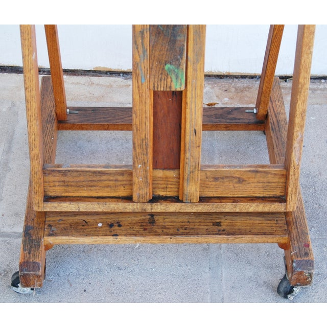 Vintage Adjustable Oak Artist's Easel - Image 4 of 11