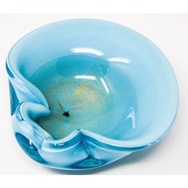 Blue Alfredo Barbini Murano Venetian Handblown Art Glass Turquoise Ashtray For Sale - Image 8 of 12